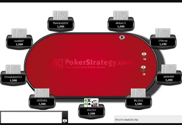 Postflop play with a short stack in a 180 man MTSnG