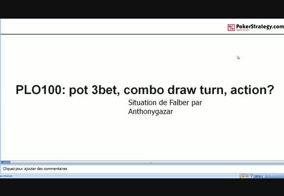 La main du jour : : pot 3bet, action turn avec combo draw?