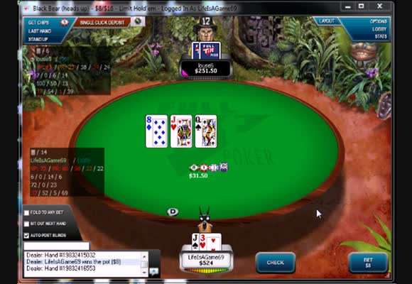 Fixed Limit Heads Up vs un joueur passif 1/2