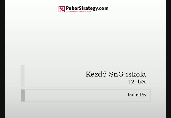 Kezdő SnG Iskola - 12. hét 1. videó