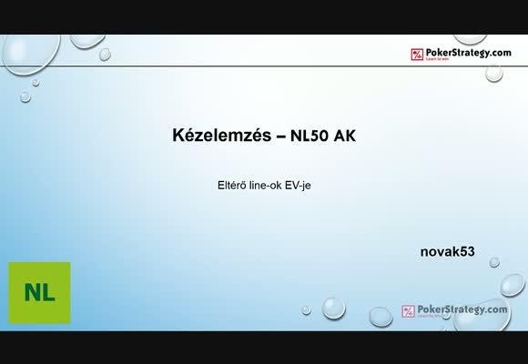 Kézelemzés NL50 AK - különböző line-ok EV-je