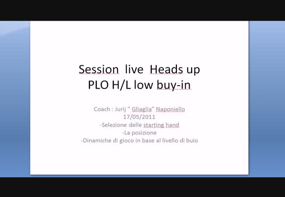 Sessione live Heads up PLO H/L low buy in