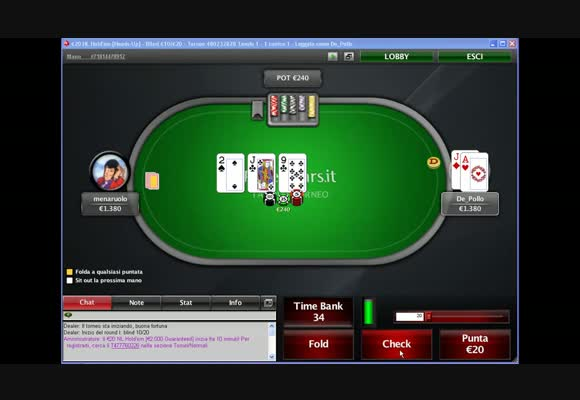 Sessione live - buy-in 20€ su PokerStars.it