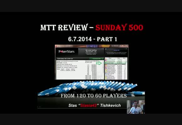 MTT $530, Stasia42 в Sunday 500 на PokerStars, часть 1
