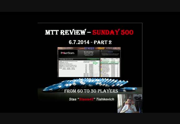 MTT $530, Stasia42 в Sunday 500 на PokerStars, часть 2