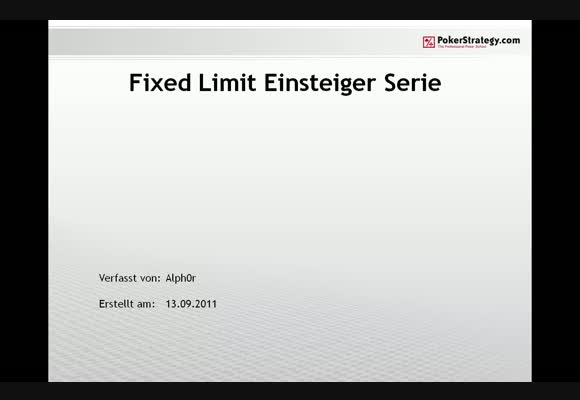 Alph0r - Fixed Limit Einsteigerpodcast - Teil 7