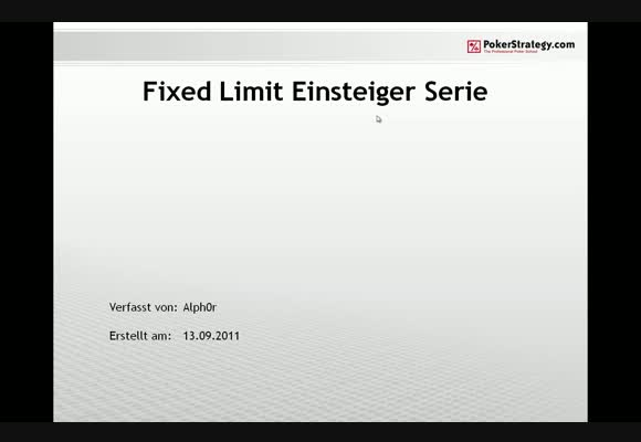 Alph0r - Fixed Limit Einsteigerpodcast - Teil 5