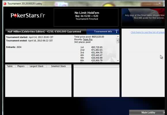 Pokerstars.fr Half Million - Let's start