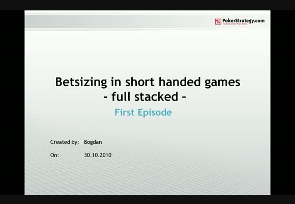 Betsizing in shorthanded games - Part 1