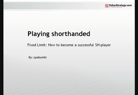 Playing Short-handed - Part 1