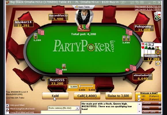 PLO $120 Hi-Lo Final Table Session Review