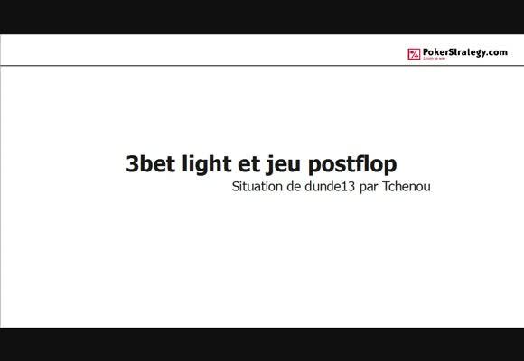 La main du jour : 3bet light préflop et jeu postflop