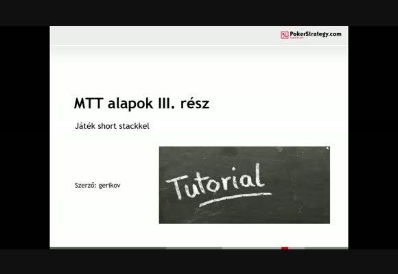 MTT kezdőknek 3. rész - shortstack játék
