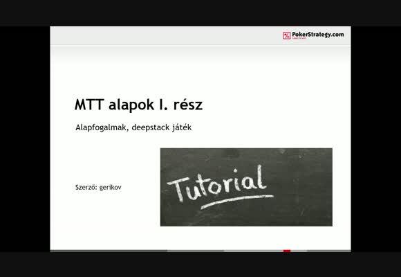 MTT kezdőknek 1. rész - alapok és deep stack játék